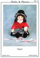 MEGAN Welsh doll Knits & Pieces Sandra Polley Teddy bear knitting pattern KP-14