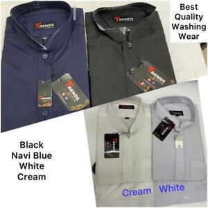 Shalwar Kameez Mens Plain Band Collar White/Cream Black / Navi  Sizes S,M,L,XL