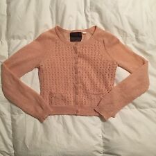 GUINEVERE Anthropologie Mohair Wool Peach Cableknit Cardigan Women's Large