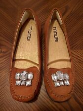 MODA SPANA Rust Brown Leather Jeweled Flat Ballet Loafers Shoes Size 8M