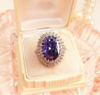 4.50Ct Oval Cut Amethyst Cocktail Halo Engagement Ring 14K Yellow Gold Finish