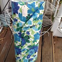 Vtg 50s 60s Blue Green Floral Raleigh Cotton Dure Allure Everglaze Fabric 1.75yd