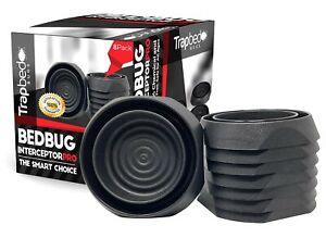 Bed Bug Interceptors. Bedbug Traps and Detectors. 8 Pack Black. No Pesticides.