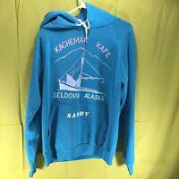 Vintage Kachemak Kafe Seldovia Alaska Hoodie Sweatshirt Men's Size Large