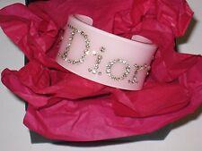AUTH Christian Dior Rhinestone Logo Crystal Perspex Lucite Cuff Bangle Bracelet