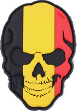 Skull Patch Belgian Flag - PVC Belgium Skull Badge Hook and Loop Backing