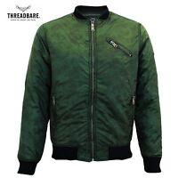 Mens Threadbare Padded Khaki Camo MA1 Camouflage Bomber Jacket Winter Coat