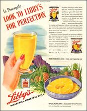 1944 WW2 era AD LIBBY'S Canned Hawaiian Pineapple and  Pineapple Juice 040317