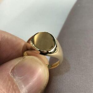 Genuine 9ct Yellow Gold Mens Round Plain Sides Signet Ring H-Q Size - Gift Boxed