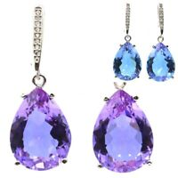 35x13mm Special 18x13mm Color Changing Alexandrite & Topaz Gift Silver Earrings