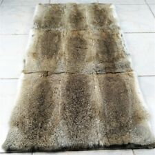 "Real Rabbit FUR Throw Blanket Patchwork Skin Fur Rug Pelz Leather Pelt 42"" x 22"""