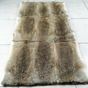 LUXURY Genuine Blanket Real Rabbit Fur Throw Spread Rug Skin Plate Collar Carpet