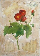 Starlie Sokol Hohne Untitled (Poppies) Original Mixed Media Artwork floral, OBO!
