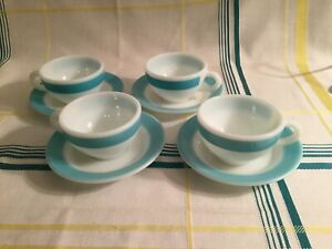 4 Sets Scarce Pyrex Turquoise Thick Stripe Tea Cup & Saucer