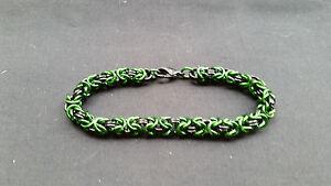 Green and Black Aluminum Anodized Byzantine Chain mail Bracelet