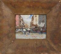 Giuseppe Rispoli-Terzillo (Italian 1882-1960) Small O/B Market Scene Circa 1930