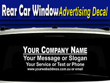 Rear window advertising car decal, business name,*services/contact,website/email