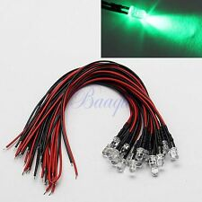 20PCS 5MM GREEN COLOR PRE WIRED LED 12V DC 20cm CAR BOAT DIY MA434 MA