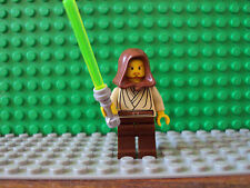 Lego Star Wars Minifig ~ Qui-Gon Jinn w/Hood & Lightsader ~ Jedi Master ~ #tgfhy