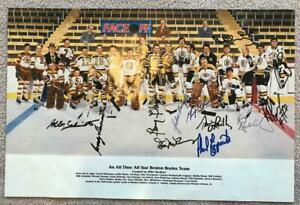 Boston Bruins Greats Signed Autographed Poster w/ Bobby Orr - 11 Signatures