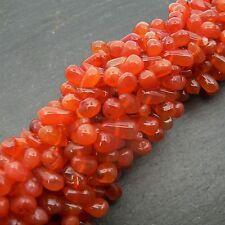 "Carnelian Side Drilled Drop Beads 15"" Strand Semi Precious Gemstone"