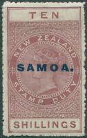 Samoa 1914 SG131 10s maroon QV fiscal MLH