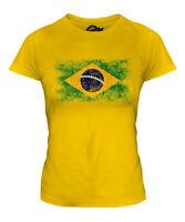 BRAZIL DISTRESSED FLAG LADIES T-SHIRT TOP BRASIL FOOTBALL BRAZILIAN GIFT SHIRT