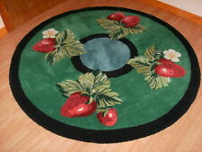 RUG- Strawberry Rug Hand Made 100% Wool Thick and Dense Pile Round Area Rug