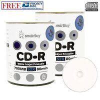 200 Pack Smartbuy CD-R 52X 700MB 80Min White Inkjet Printable Blank Record Disc