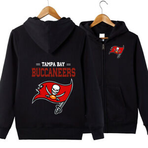 Tampa Bay Buccaneers Football Hoodie Hooded Sweatshirt Casual Jacket Zip Up Coat