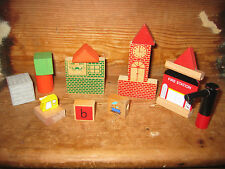 WOODEN STURDY VILLAGE BUILDINGS CLOCK TOWER FIRE STATION CONSTRUCTION BLOCKS