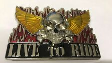 Live To Ride Biker Skull Harley Fire Belt Buckle