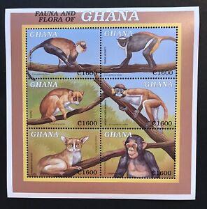 GHANA MONKEYS STAMP SHEET '99 MNH FAUNA & FLORA WILD ANIMALS CHIMPANZEE WILDLIFE