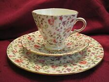 CLARENCE ~ ENGLAND Bone China Floral 3 PC Tea Cup Saucer Dessert SET  Mint!