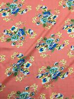 Peach & Blue Flowers 100% Viscose Summer Printed Dress Fabric.