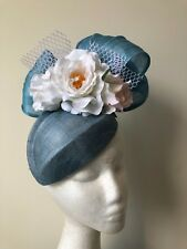 NEW! Light Blue fascinator with white roses and netting. Gorgeous!