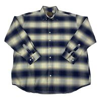 St. Johns Bay Mens Size 2XLT Tall Blue White Long Sleeve Button Front Shirt