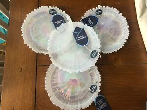 """4 NEW WITH TAG WHITE ALABASTER GLASS 8 1/2"""" PLATES W IRIDESCENT FINISH"""