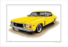 HOLDEN HJ GTS MONARO COUPE  LIMITED EDITION CAR DRAWING  PRINT (6 CAR COLOURS)