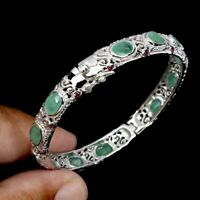 Unheated Oval Green Emerald 7x5mm Rhodolite Garnet 925 Sterling Silver Bangle