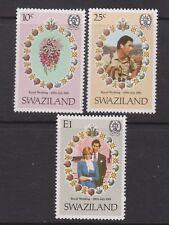 1981 Royal Wedding Charles & Diana MNH Stamp Set Swaziland SG 376-378