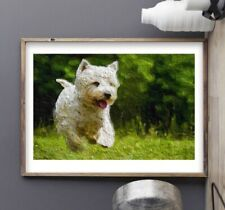 West Highland White Terrier Art Painting Print - Westie Dog Artwork - A4 Poster