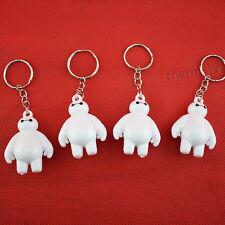 5PCs 3D Cute Big Hero White Baymax Anime Figure Boy Keychain Toy Key Rings Chain