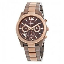 FOSSIL ES4284 Perfect Boyfriend Gunmetal Rose Gold Bezel Stainles Steel 39MM NEW