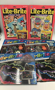 Vintage Lite Brite Picture Refill Lot- Animaniacs - Jurassic Park - Monsters Inc