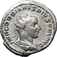 GORDIAN III 240AD Genuine  Authentic  Ancient Silver Roman Coin SOL SUN i70379