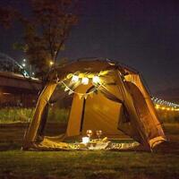 Solar Camping Laterne 18 LED's Akku Schwarz 360° Light Leuchte USB