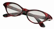 Female Nerd Glasses Plaid Frames Horn Rimmed Cat Eye Clear Lenses