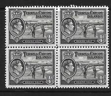 TURKS & CAICOS ILDS, KGV1 1938  DEFINS, 1/4c  SG 194, MNH BLOCK 4,