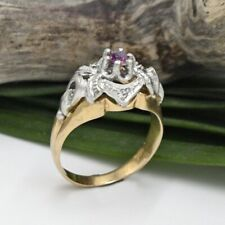 18k White & Yellow Gold Antique Ornate Ruby Ring Size 7.25